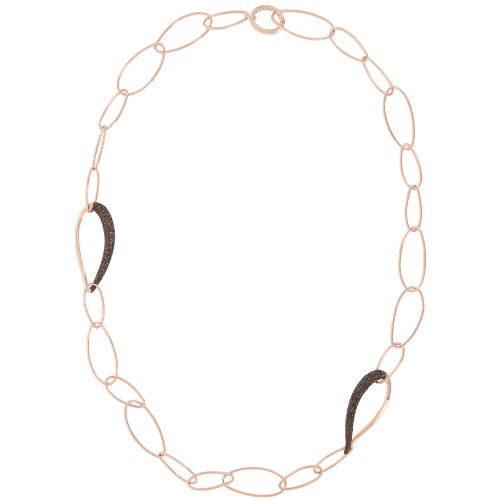 Closeup photo of Oval Shape Linked Necklace w/Polvere Accents Rose Gold Dark Brown Polvere