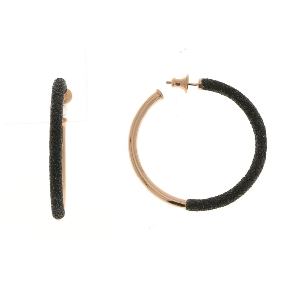 Closeup photo of Polvere Di Sogni Two-tone Small Hoop Earrings (Rose Gold Black Dust)