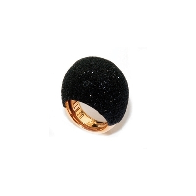 Closeup photo of Large Dome Polvere Di Sogni Ring - Rose Gold & Black Dust