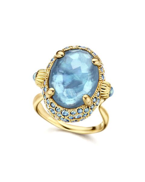 Closeup photo of Dancing In The Rain Blue Topaz Ring