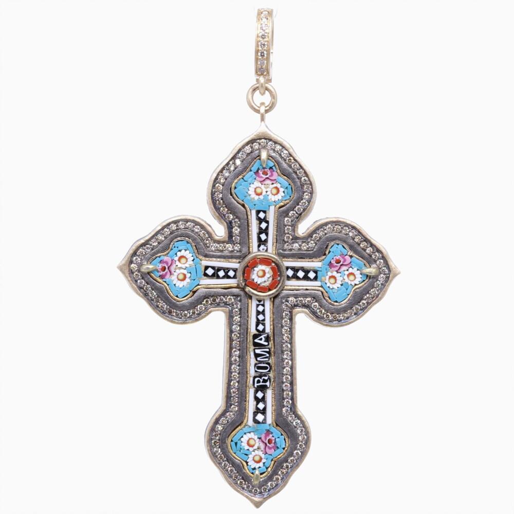 Italian Grand Tour Roma Micro Mosaic Cross Pendant