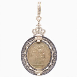Closeup photo of French Guardian Angel Pendant with St. Ignace