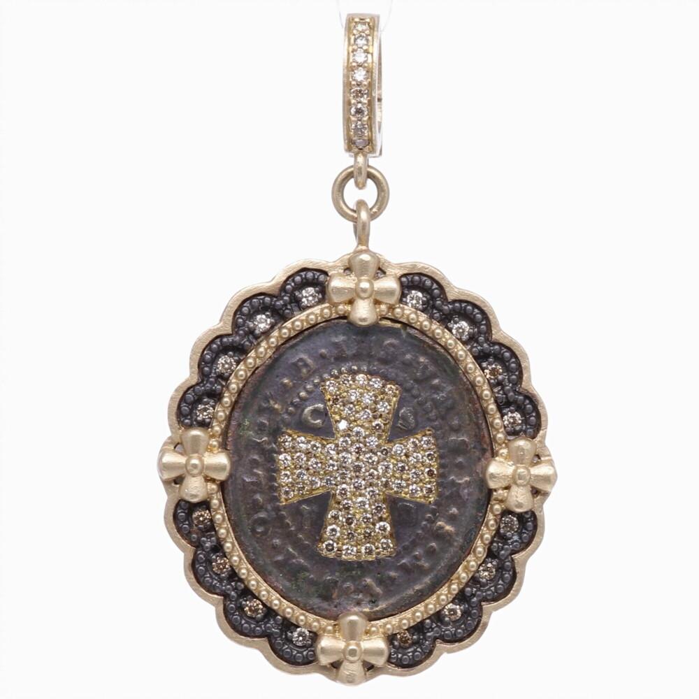 St. Benedict Diamond Shield Pendant