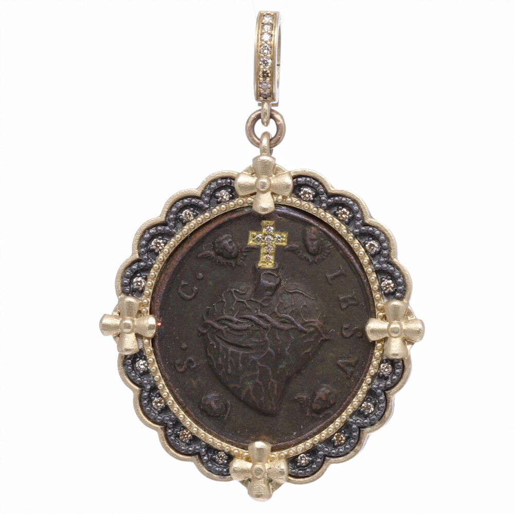 Antique Sacred Heart with Cherubs Pendant