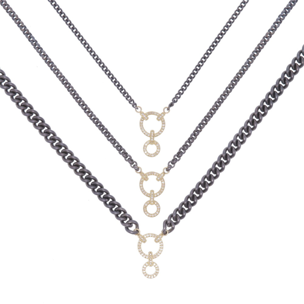 Classic Diamond Double Circle Display Necklace