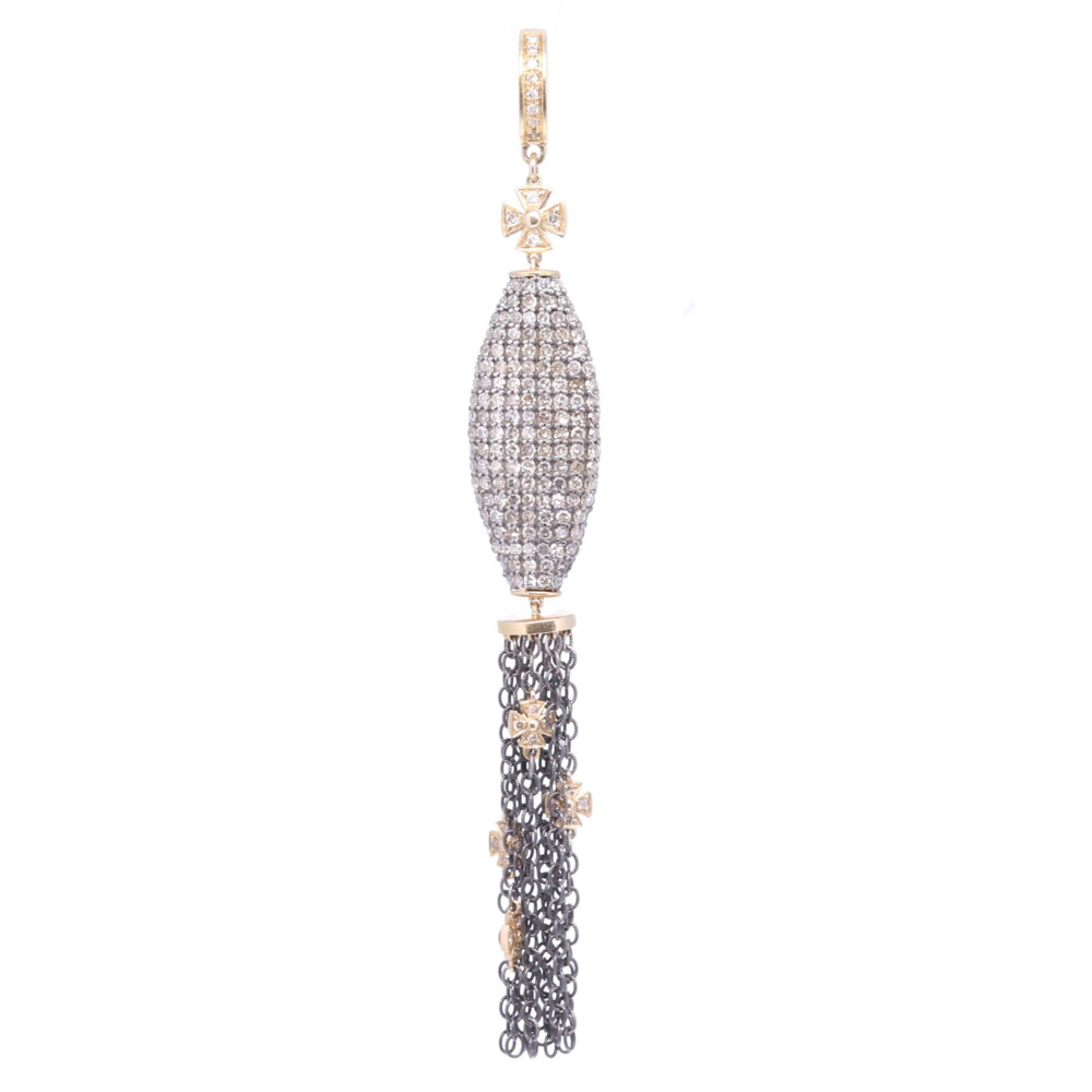 Oblong Pave Diamond Tassel with Tiny Crosses