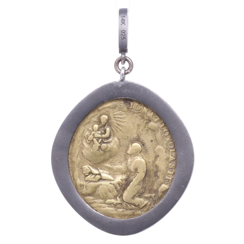 Image 2 for Brass Sacred Heart with Cherubs Pendant