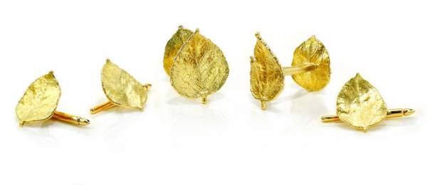 Closeup photo of Aspen Leaf Cuff Links