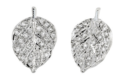 Closeup photo of Pave Diamond And Aspen Leaf Earrings