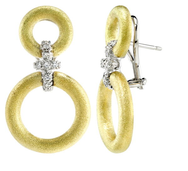 Closeup photo of Gold Circle Earrings With Cross Diamond Connectors