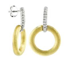 Closeup photo of Hoop Earrings With Diamond Bar Stems (Medium)