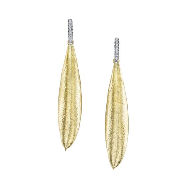 Closeup photo of Olive Leaf Earrings With Diamond Bar Stems