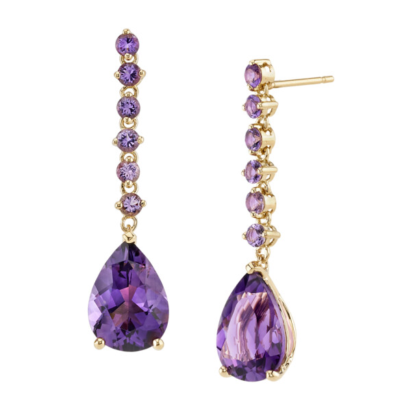 Closeup photo of Amethyst Dangle Earrings