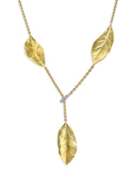 Closeup photo of Southern Oak Leaves Necklace With Diamond Stopper
