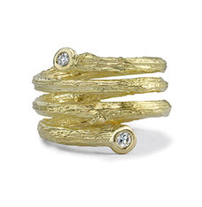 Olive Branch Coil Ring With Diamonds