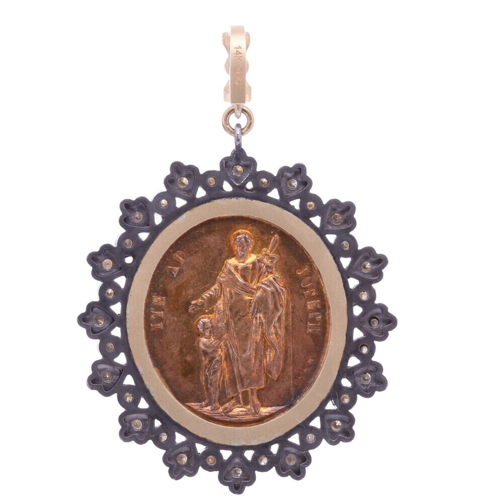 Image 2 for French Guardian Angel and St. Joseph Pendant