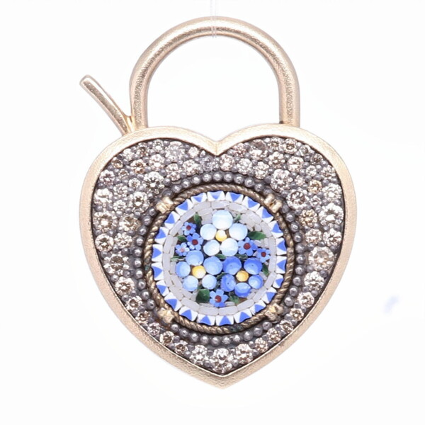 Closeup photo of Blue Italian Micro Mosaic Floral Heart Locket Pendant/Charm