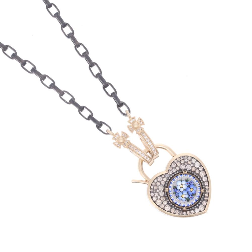 Image 2 for Blue Italian Micro Mosaic Floral Heart Locket Pendant/Charm
