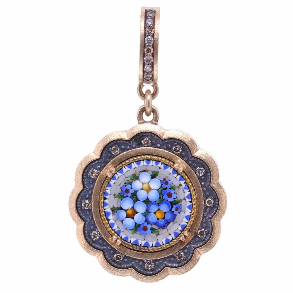 Blue Italian Micro Mosaic Scalloped Floral Pendant