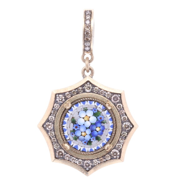Closeup photo of Blue Floral Authentic Italian Micro Mosaic Pendant/Charm