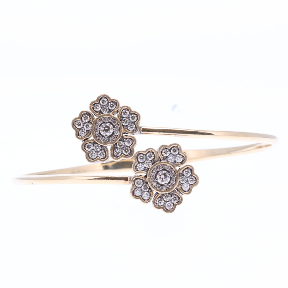 Floral Hinged Cuff Bracelet