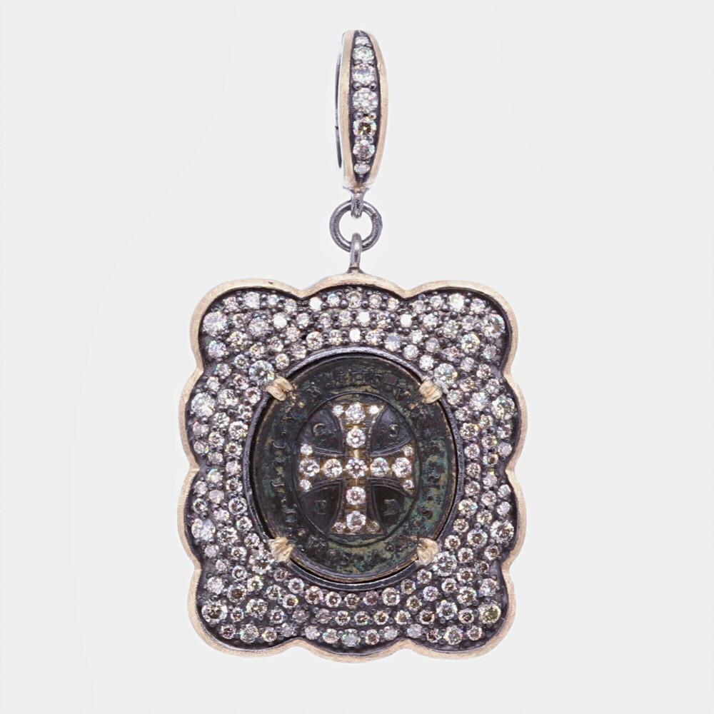 Ancient St. Benedict Shield Medal Pendant