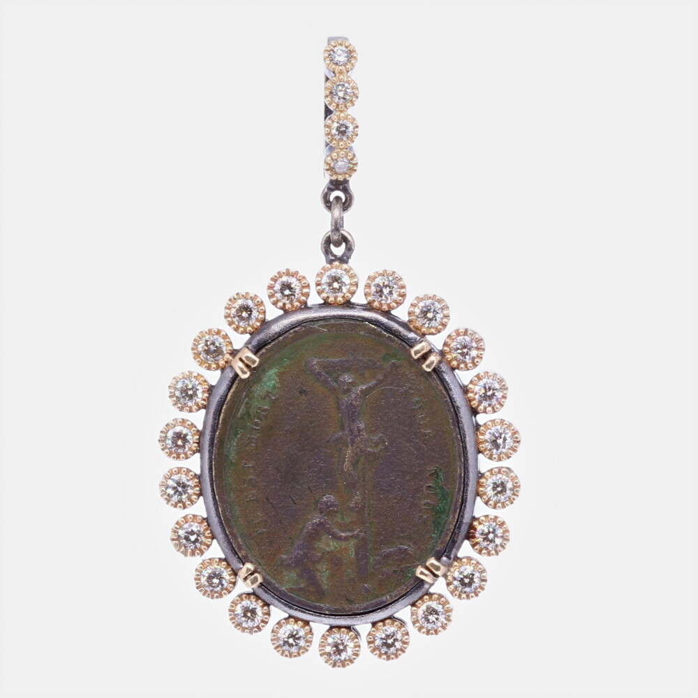 French Crucifixion and Our Lady of Sorrows Medal Pendant