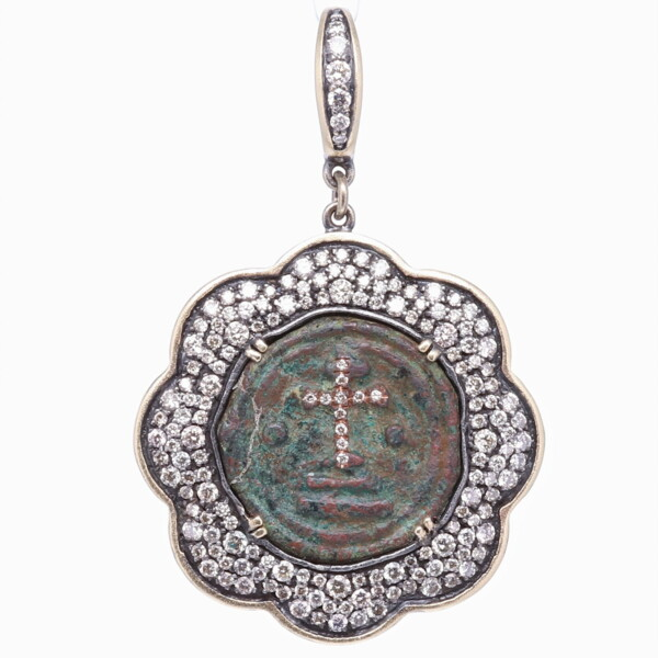 Closeup photo of Ancient Byzantine Coin Pendant