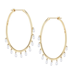 Closeup photo of Oh My Jazz Oval Hoops Diamond Earrings