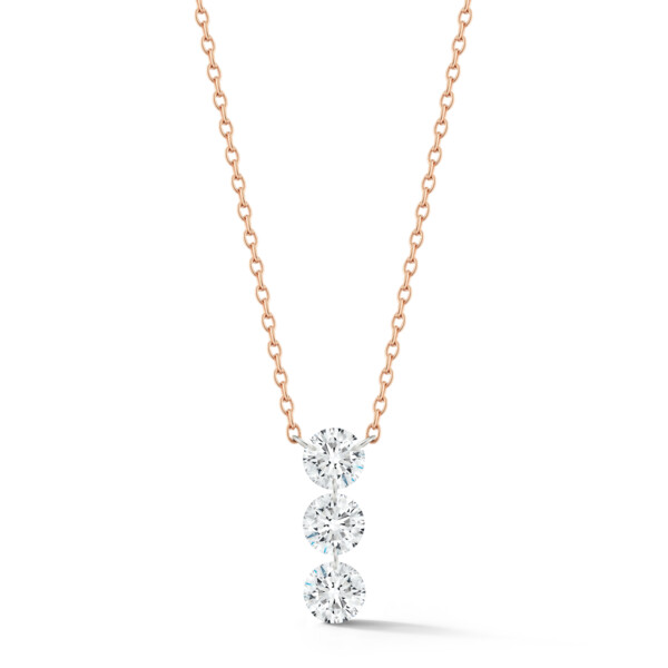 Closeup photo of Trio Streamer 3-round Diamond Necklace