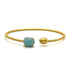 Closeup photo of Dancing In The Rain Small Aquamarine Wrap Bangle Bracelet