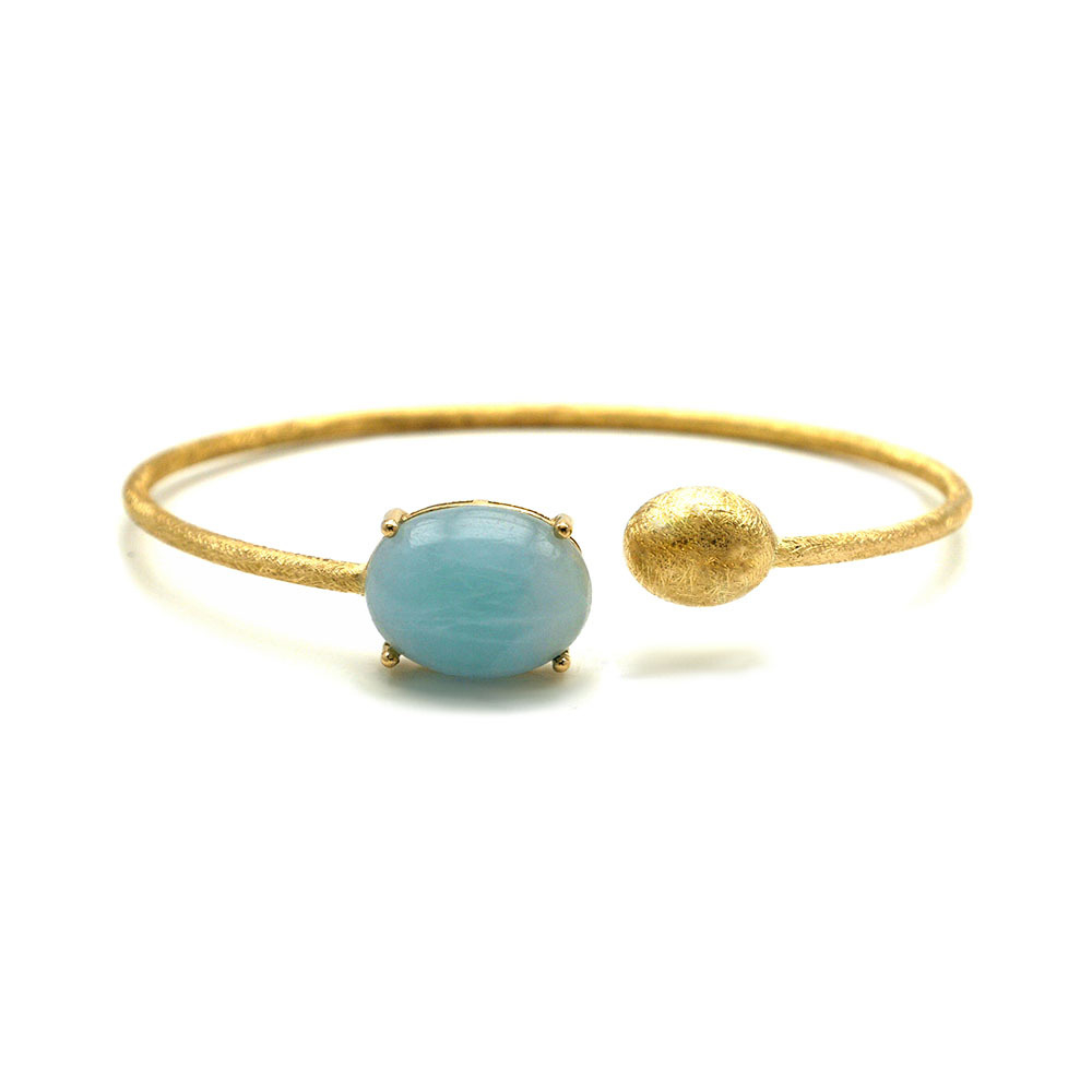 Dancing In The Rain Large Aquamarine Wrap Bangle Bracelet