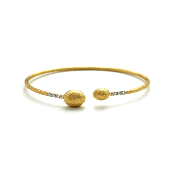 Closeup photo of Dancing In The Rain Small Bead Gold Wrap Bangle Bracelet