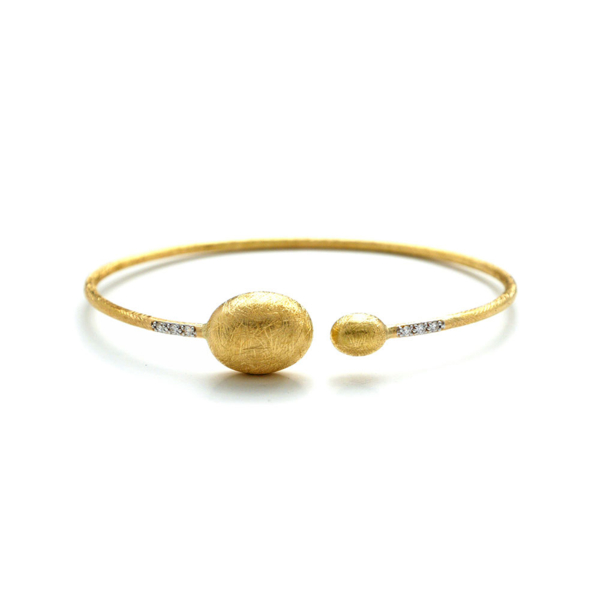 Closeup photo of Dancing In The Rain Large Bead Gold Wrap Bangle Bracelet