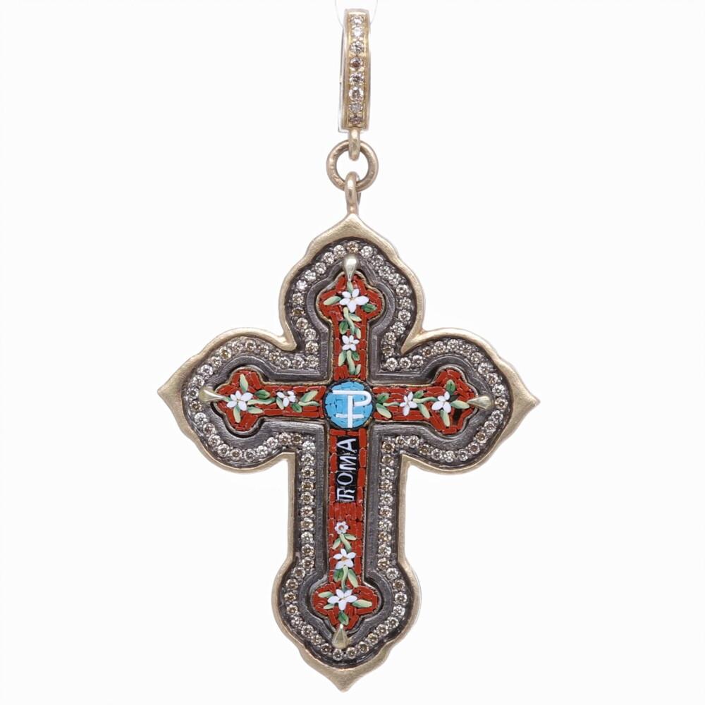 Italian Grand Tour Red Chi Rho Micro Mosaic Cross