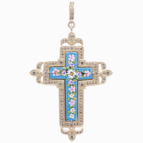 Closeup photo of Floral Turquoise Italian Micro Mosaic Grand Tour Cross Pendant