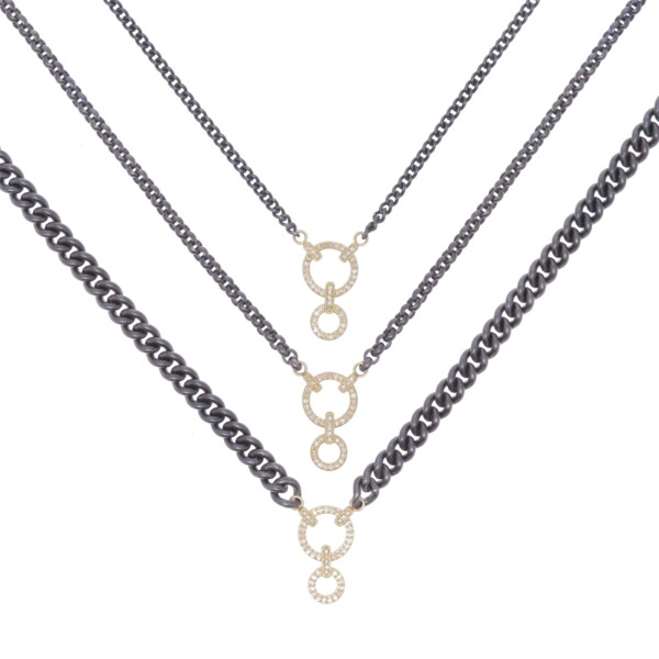 Closeup photo of Classic Diamond Double Circle Display Necklace