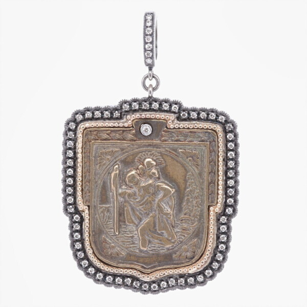 "Closeup photo of Antique St. Christopher ""The Gentle Giant in The River"" Pendant"