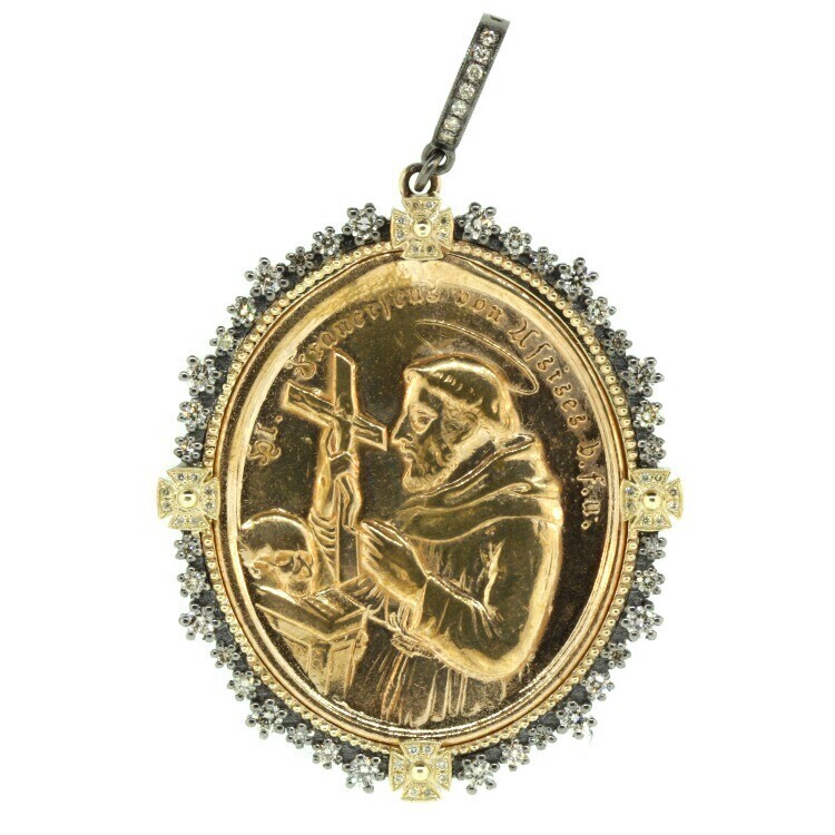 1900s German St. Francis of Assisi Medal Pendant