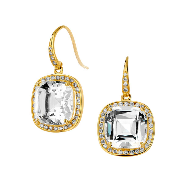 Closeup photo of 18KYG ROCK CRYSTAL CUSHION EARRINGS WITH CHAMPAGNE DIAMONDS