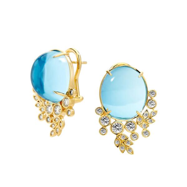 Closeup photo of BLUE TOPAZ & CHAMPAGNE DIAMOND EARRINGS
