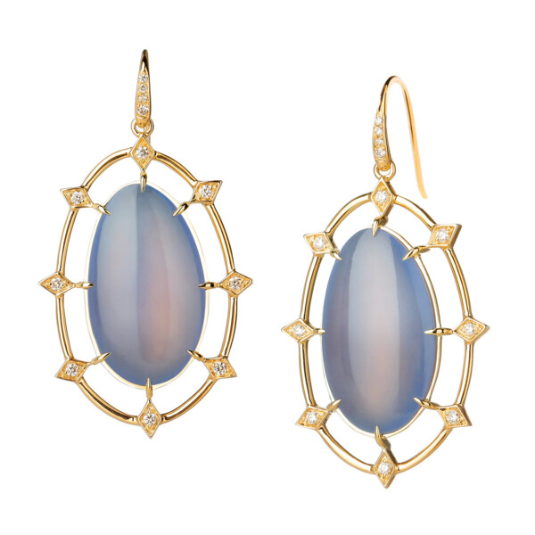 Closeup photo of BLUE CHALCEDONY COBBLESTONE EARRINGS WITH CHAMPAGNE DIAMONDS