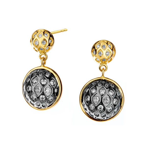 Closeup photo of 18KYG 925 BAUBLES EARRINGS WITH CHAMPAGNE DIAMONDS
