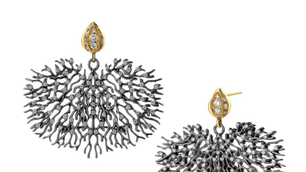 Closeup photo of 18KYG OXIDIZED SILVER BLACK CORAL REEF EARRINGS WITH CHAMPAGNE DIAMONDS