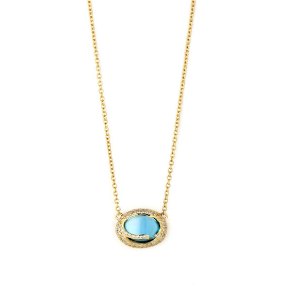 Closeup photo of BLUE TOPAZ & CHAMPAGNE DIAMOND COBBLESTONE NECKLACE