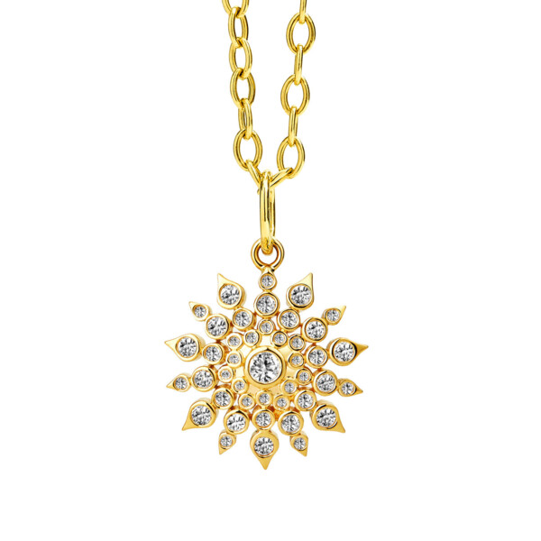 Closeup photo of 18KYG STARBURST PENDANT WITH CHAMPAGNE DIAMONDS