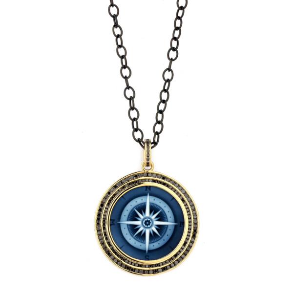Closeup photo of COMPASS PENDANT WITH BLACK DIAMONDS