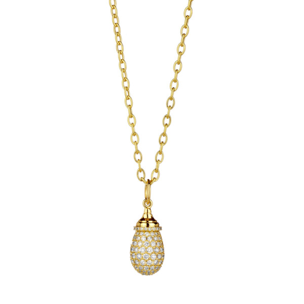 Closeup photo of MINI CHAMPAGNE DIAMOND PAVE MOGUL DROP PENDANT