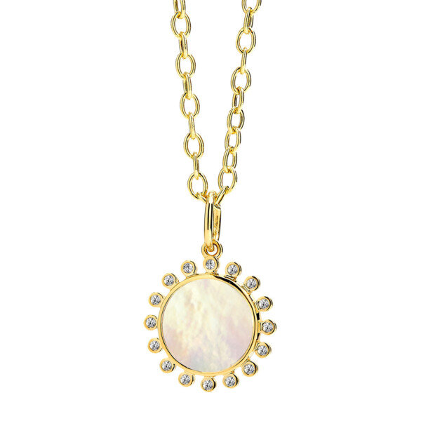 Closeup photo of 18KYG MOTHER OF PEARL PENDANT WITH CHAMPAGNE DIAMONDS