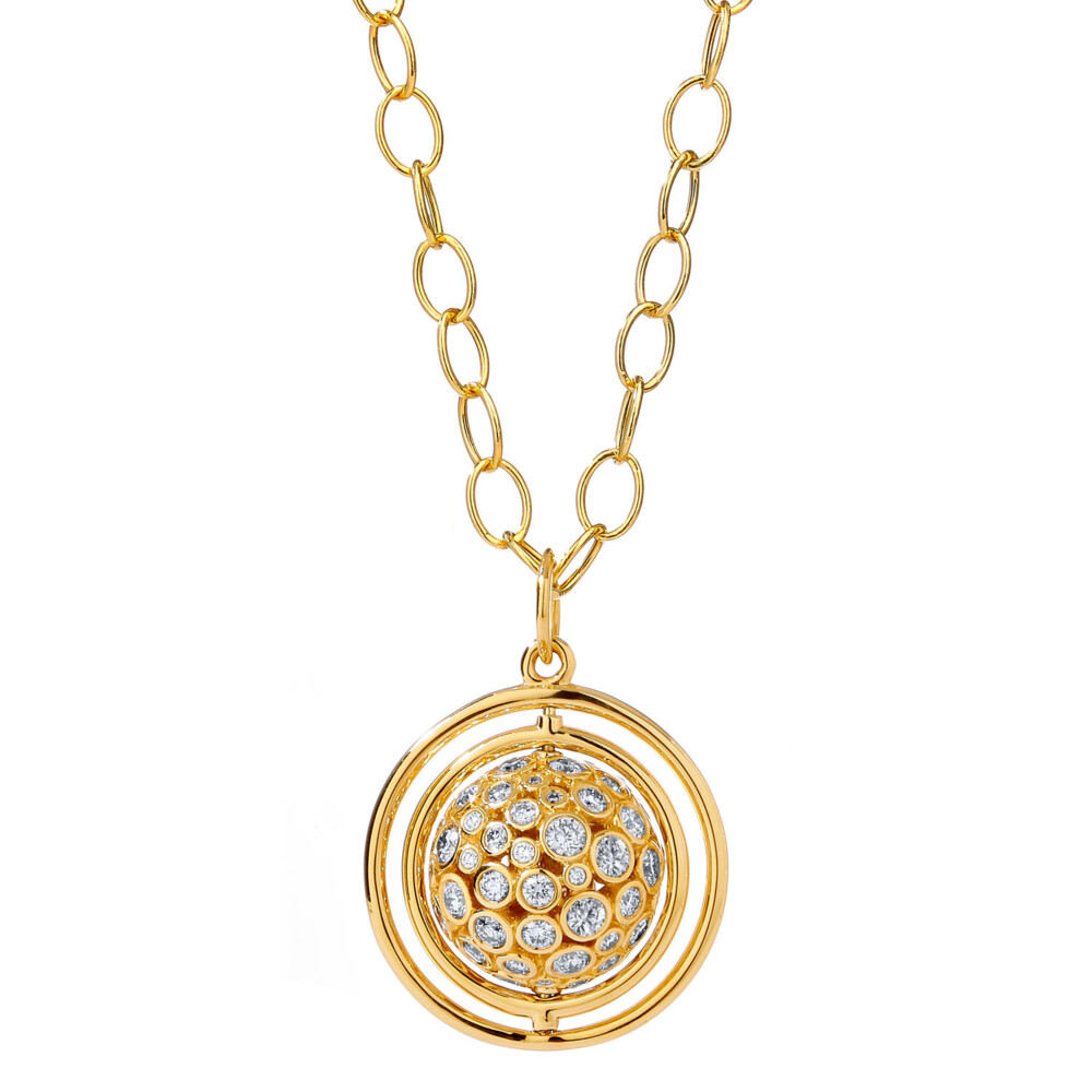 18KYG SWIVEL BALL PENDANT WITH CHAMPAGNE DIAMONDS